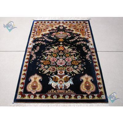 Mat Qom Carpet Handmade Flower pot Design All Silk