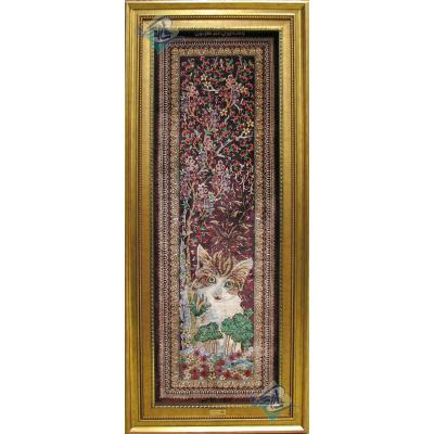 Tableau Carpet Handwoven Qom Cat and Grove Design all Silk