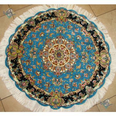 دایره قطر یک متر فرش دستباف تبریز طرح سالاری گل ابریشم