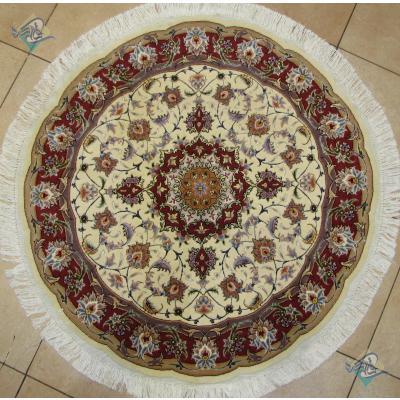 دایره قطر یک متر فرش دستباف تبریز طرح تقی زاده گل ابریشم