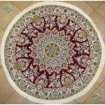 فرش دستباف نایین گرد قطر یک متر و نیم گل ابریشم