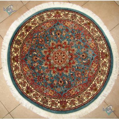 دایره دستباف بیجار قطر یک متر طرح ترنج گل ابریشم