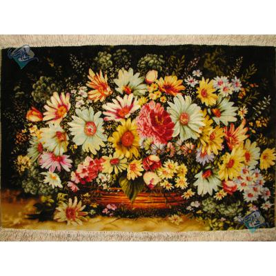 تابلو فرش تبریز طرح سبد گل بزرگ