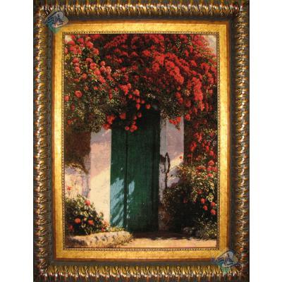 تابلو فرش تبریز طرح درب باغ بهشت
