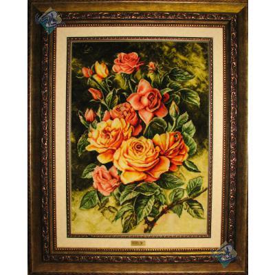 تابلو فرش تبریز طرح گل چهار شاخه