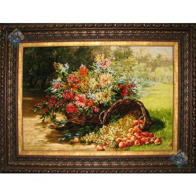 تابلو فرش تبریز طرح سبد گل و میوه