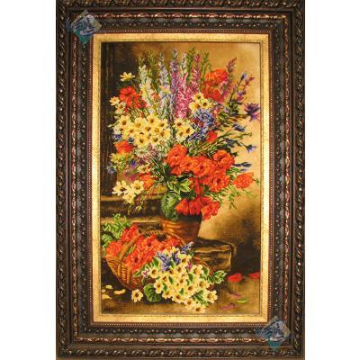تابلو فرش دستباف تبریز طرح گلدان گل وپله