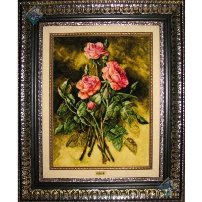 تابلو فرش تبریز سه شاخه گل برجسته باف