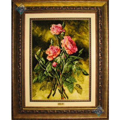 تابلو فرش تبریز طرح سه شاخه گل برجسته باف