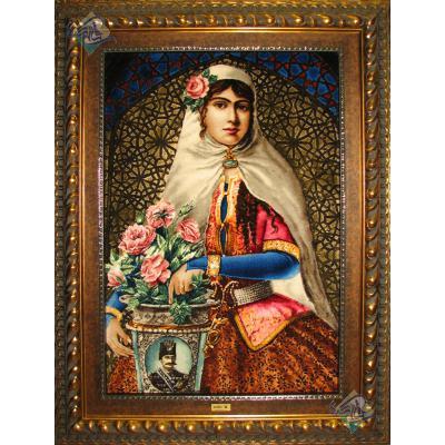 تابلو فرش تبریز طرح دختر قاجار