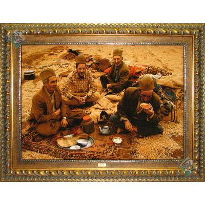 تابلو فرش تبریز طرح چای خوران عشایر