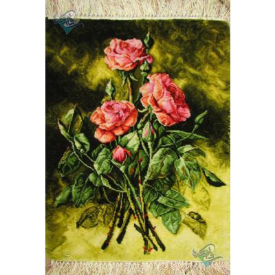 تابلو فرش تبریز طرح سه شاخه گل