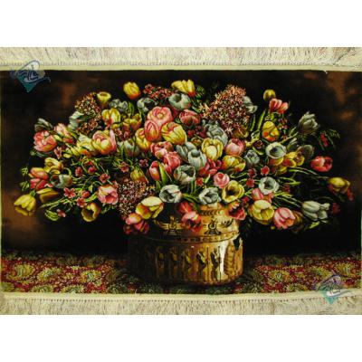 تابلو فرش تبریز طرح گلدان هخامنشی گل لاله