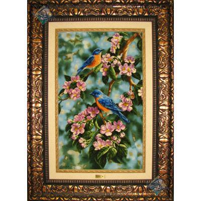 تابلو فرش دستباف تبریز طرح دو پرنده  چله و گل ابریشم