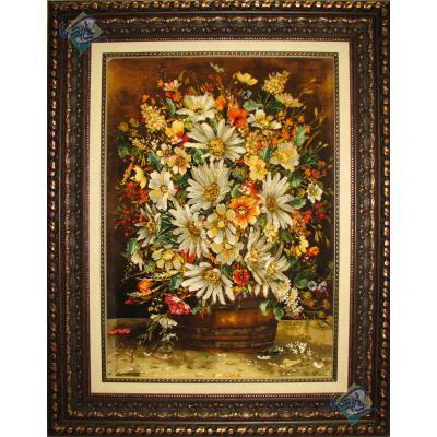 تابلو فرش تبریز طرح سطل گل تولیدی مالکی چله و گل ابریشم