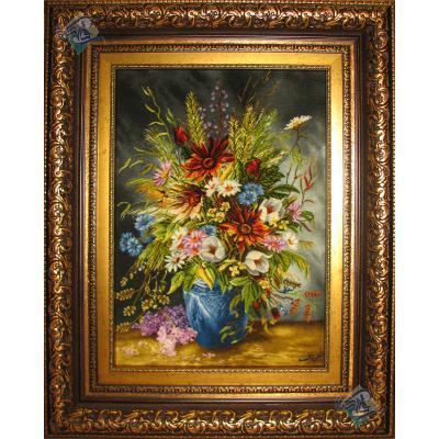 تابلو فرش تبریز طرح گلدان گل تولیدی شعرباف