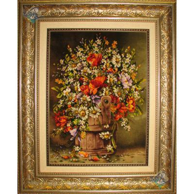 تابلو فرش تبریز طرح سطل گل تولیدی کریمی