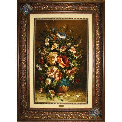 تابلو فرش طرح گلدان گل تولیدی سیدیان چله و گل ابریشم