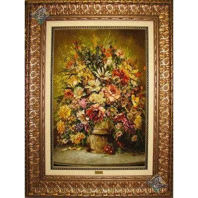 تابلو فرش تبریز طرح سطل چوبی پرگل چله و گل ابریشم