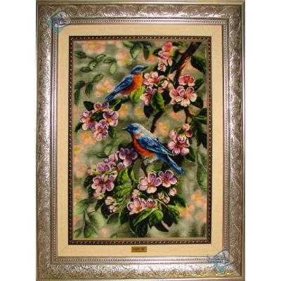 تابلو فرش تبریز طرح دو پرنده بر جسته باف چله و گل ابریشم