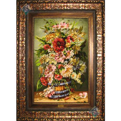تابلو فرش تبریز طرح طرح سطل چوبی گل چله و گل ابریشم