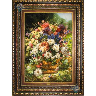 تابلو فرش دستباف تبریز گلدان تولیدی فتاحیان چله و گل ابریشم