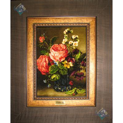 تابلو فرش تبریز طرح گلدان دل انگیز گل ابریشم سایز کوچک