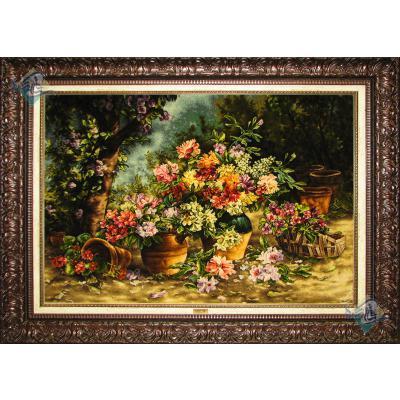 تابلو فرش تبریز طرح چند گلدان گل تولیدی عابدین نژاد