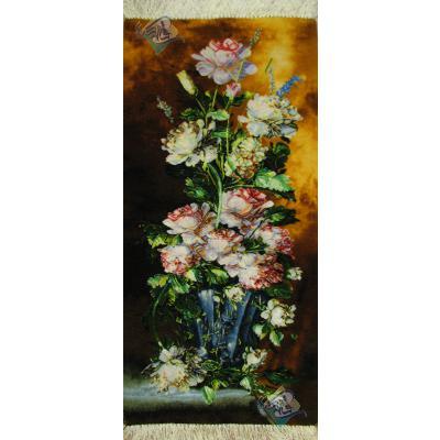 تابلو فرش دستباف تبریز طرح گلدان گل ستونی چله و گل ابریشم