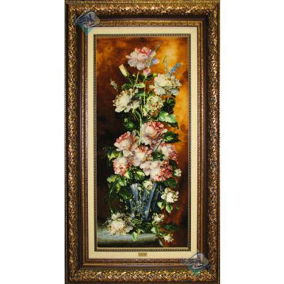 تابلو فرش تبریز طرح گلدان گل ستونی چله و گل ابریشم