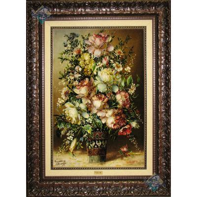 تابلو فرش تبریز طرح جدید گلدان گل تولیدی میر حیدری