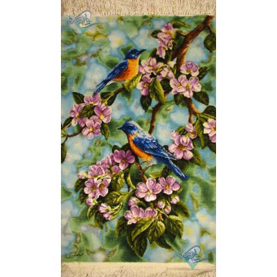 تابلو فرش دستباف تبریز برجسته باف چله و گل ابریشم دو پرنده