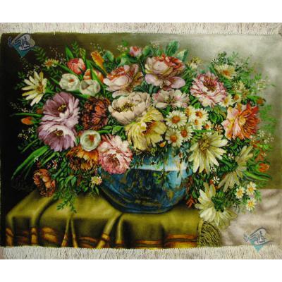 تابلو فرش دستباف تبریز طرح تنگ گل برجسته باف و چله و گل ابریشم