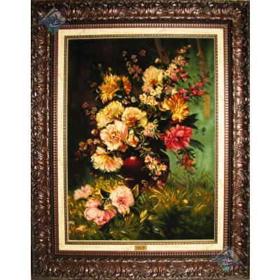 تابلو فرش دستباف تبریز طرح گلدان گل تولیدی مودت