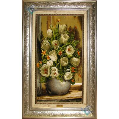 تابلو فرش تبریز طرح گلدان گل کریم نژاد چله و گل ابریشم