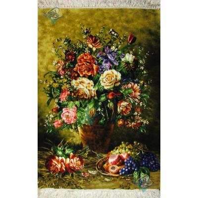 تابلو فرش تبریز طرح گل بهار و میوه چله و گل ابریشم