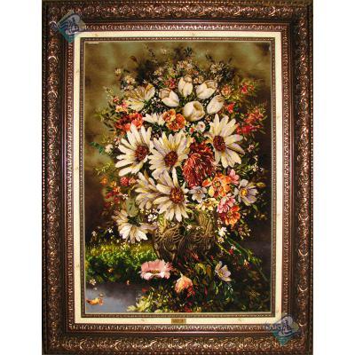 تابلو فرش تبریز طرح گلدان گل  چله و گل ابریشم
