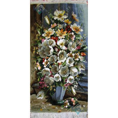 تابلو فرش دستباف تبریز طرح گل دلگرم سردرودی چله و گل ابریشم بدون قاب