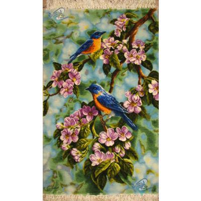 تابلو فرش دستباف تبریز طرح دو پرنده برجسته باف بدون قاب
