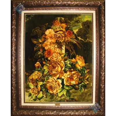 تابلو فرش دستباف تبریز طرح گل رزهای یاقوتی چله و گل ابریشم