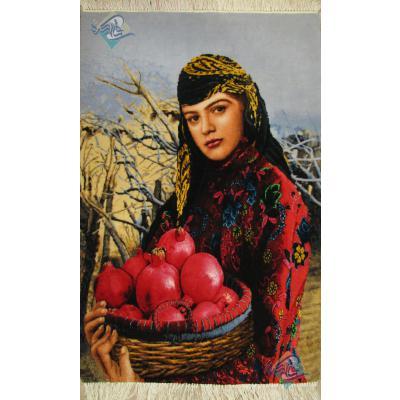 تابلو فرش دستباف تبریز دختر انار فروش چله و گل ابریشم