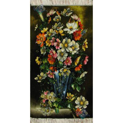 تابلو فرش دستباف تبریز طرح گلدان ستونی چله و گل ابریشم