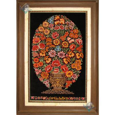 تابلو فرش دستباف تمام ابریشم قم طرح گلدانی تولیدی احمدی