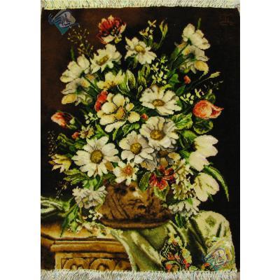 تابلو فرش دستباف تبریز گلدان گل ملکی چله و گل ابریشم