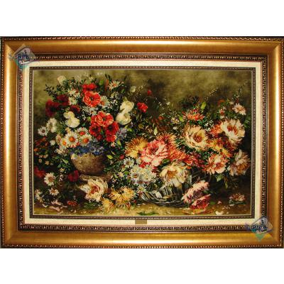 تابلو فرش دستباف تبریز طرح گلدان و سبدگل چله و گل ابریشم