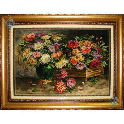 تابلو فرش دستباف تبریز طرح گلدان و میز چوبی چله و گل ابریشم