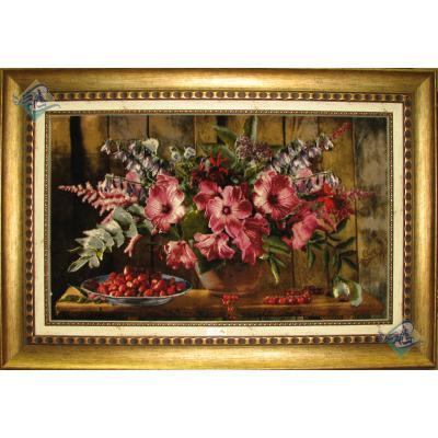 تابلو فرش دستباف تبریز گلدان و میوه مارک امیر