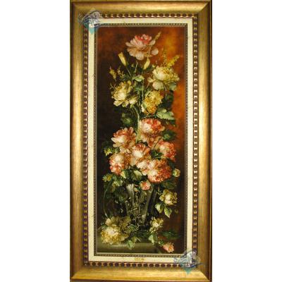 تابلو فرش دستباف تبریز گلدان گل ستونی آنتیک