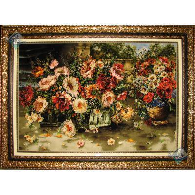 تابلو فرش دستباف تبریز گلدان گل وسبد گل چله و گل ابریشم