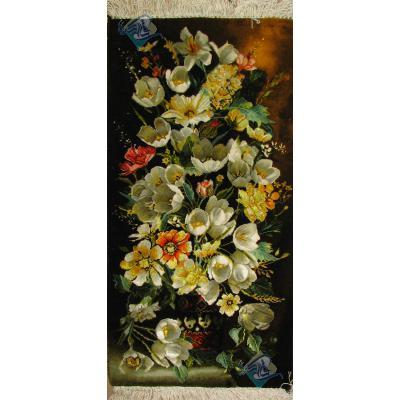 تابلو فرش دستباف تبریز گلدان ستونی چله و گل ابریشم